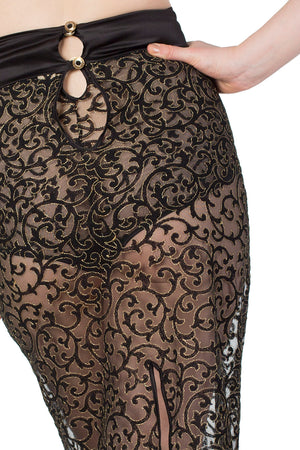 Persephone Black Silk and Embroidery Button Detail Half Slip