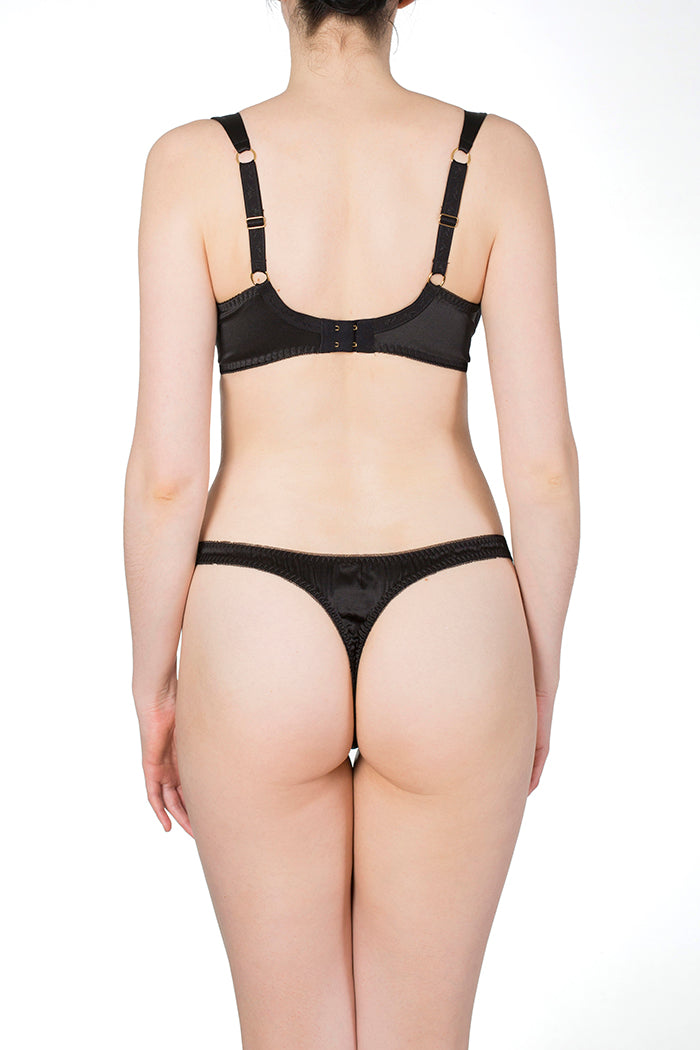 Persephone Black Silk Thong