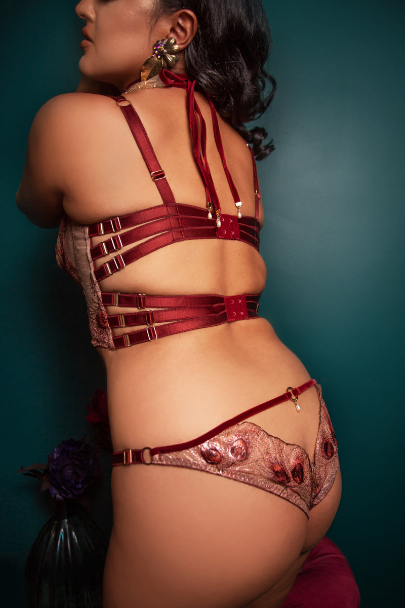 Luxury boudoir bra with red strapping back with metallic gold open back briefs