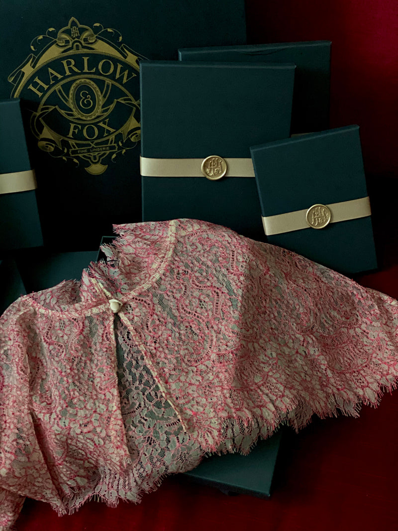Red lace cape in lingerie gift box set