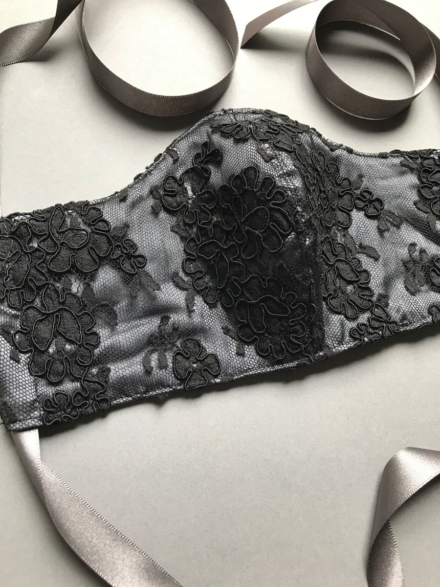 Silk face mask in grey silk with black lace and ribbon tie