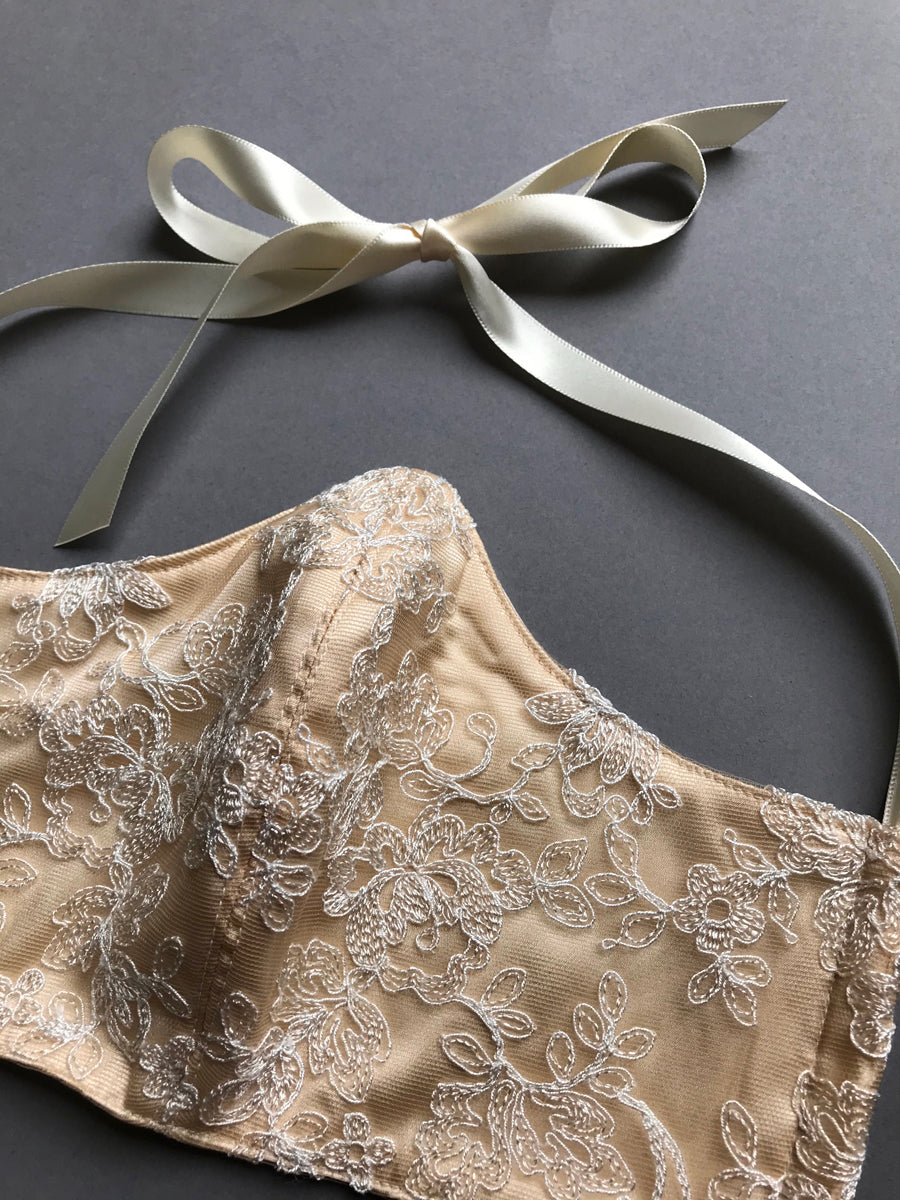 Silk face mask with cotton layer, filter pocket and luxury lace overlay with ribbon fastening