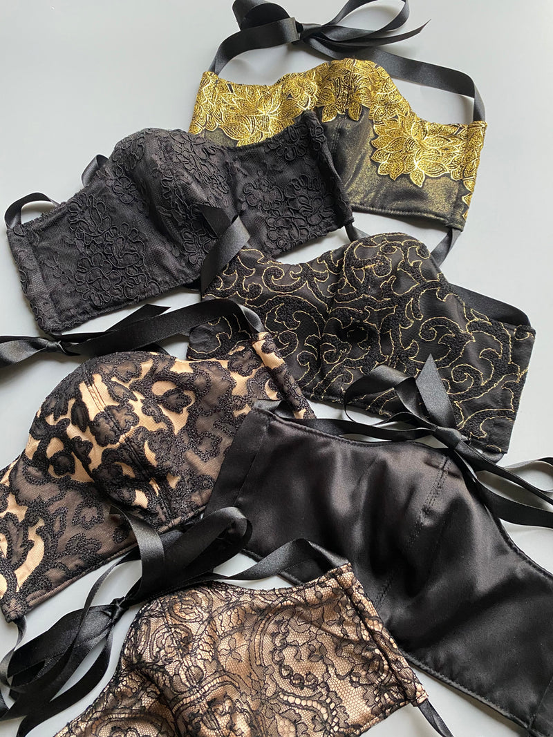 Black and gold lace and silk luxury face masks