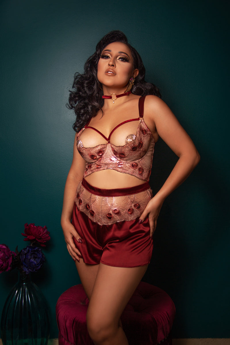 Luxury red and gold silk tap pants with DD+ open cup bra