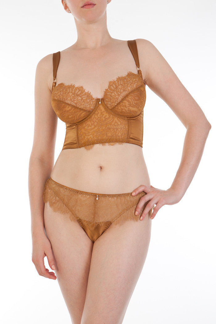Gold lace luxury British lingerie set, with DD+ longline bra