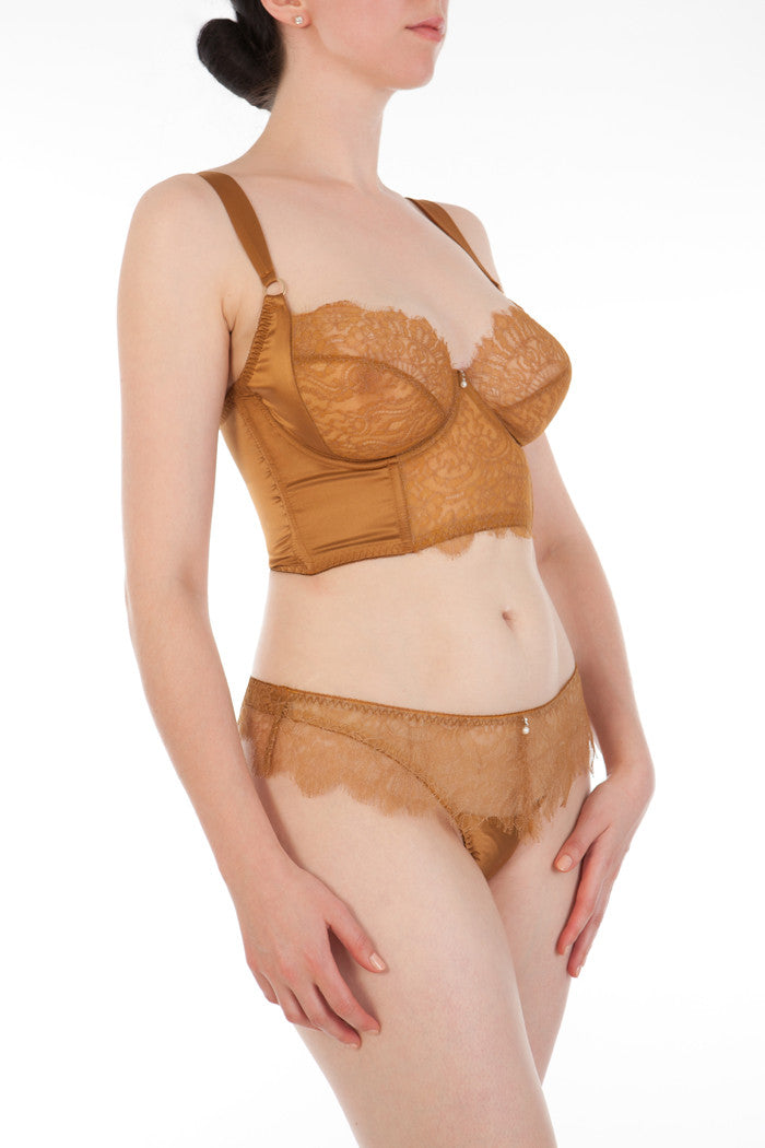 Gold lace luxury DD+ lingerie set, longline bra and thong