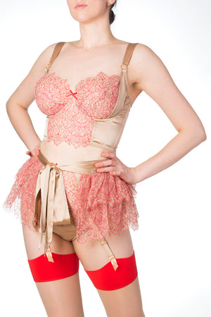 Viola Hazel luxury full cup red lace and gold silk bra with lace skirt
