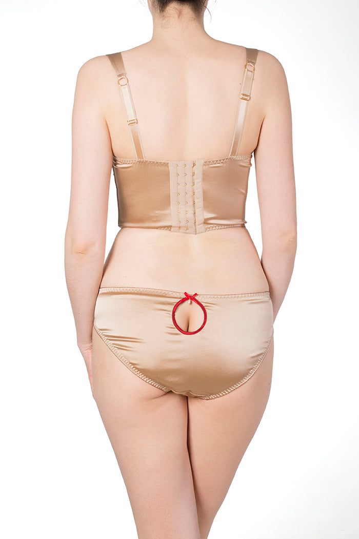 Viola Hazel Classic Brief with Red Silk Binding Keyhole detail