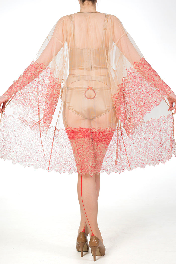 Viola Hazel Mesh and Red Leavers Lace Kimono
