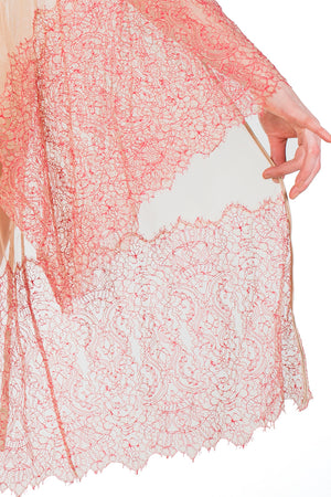Viola Hazel red Leavers Lace Detail Kimono