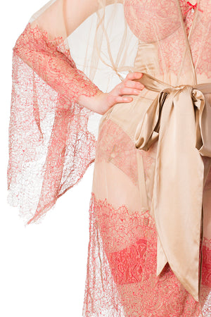 Viola Hazel Mesh and Red Leavers Lace Kimono with Caramel Silk Sash