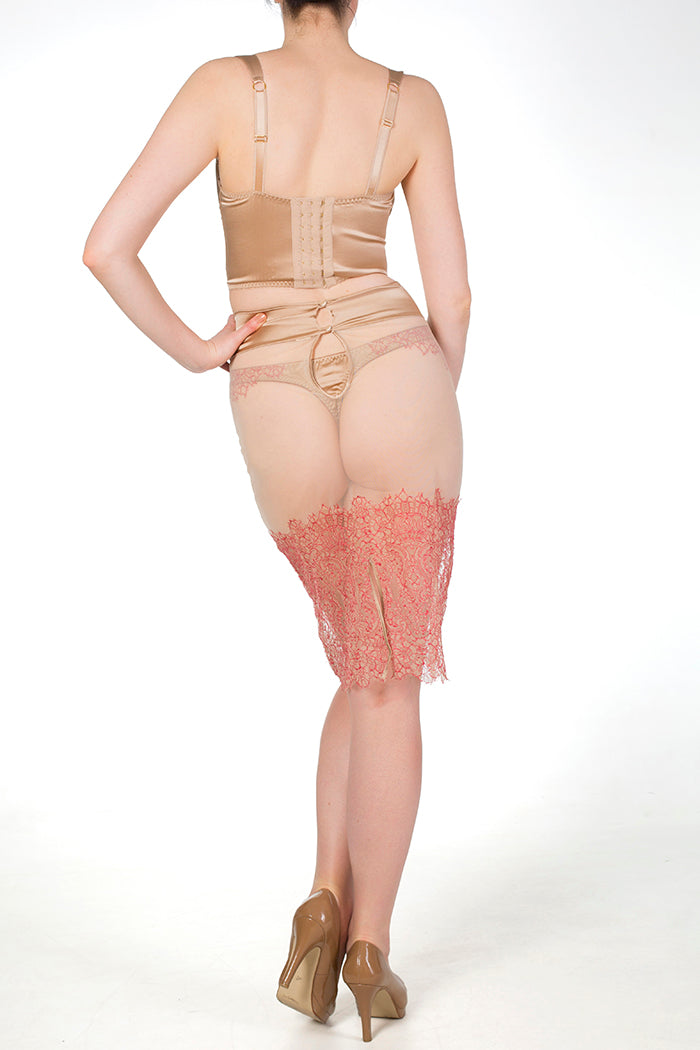Viola Hazel sheer tulle half slip with red lace
