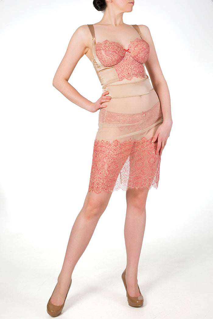 Viola Hazel sheer slip with red lace