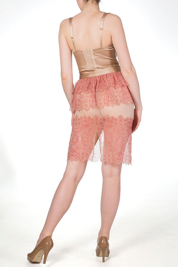 Viola Hazel sheer red lace skirt and luxury boudoir lingerie