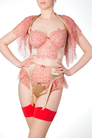Red and gold luxury silk and lace DD-G cup bra and lace cape