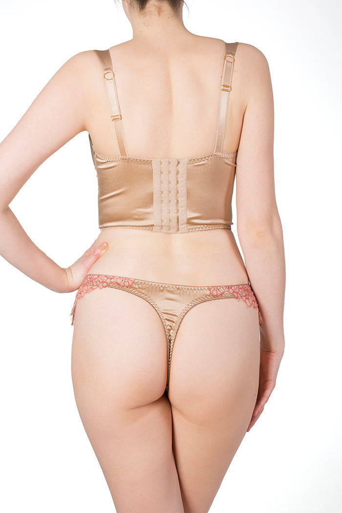 Viola Hazel luxury gold silk thong and longline bra