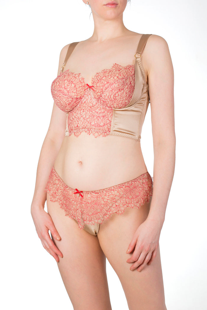 Viola Hazel luxury longline bra for DD+ cup sizes with red lace thong
