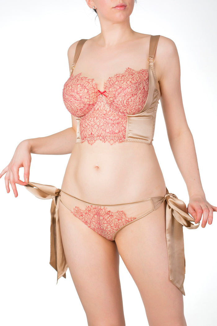 Viola Hazel luxury silk and lace tie side knicker