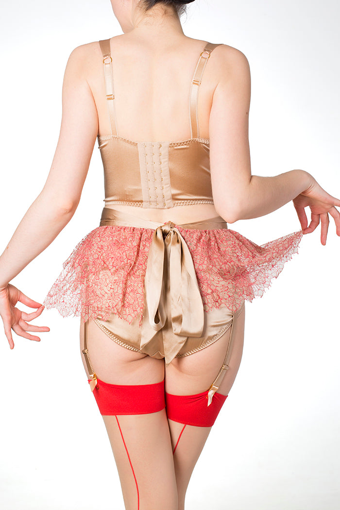 Viola Hazel Red Luxury Lace Tutu with Gold Silk Sash