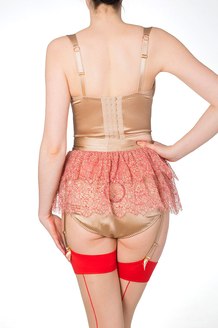 Viola Hazel Silk lingerie set with Red Leavers Lace Tutu