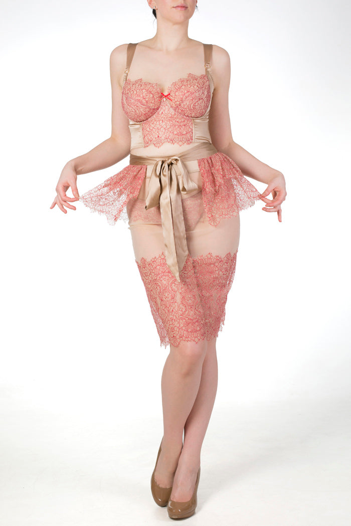 Viola Hazel luxury boudoir lingerie and lace skirt