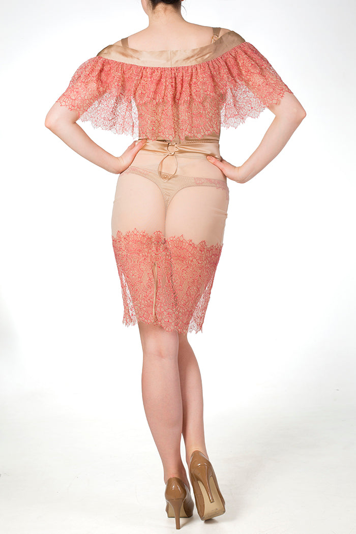 Viola Hazel luxury boudoir outfit, sheer red lace and gold silk