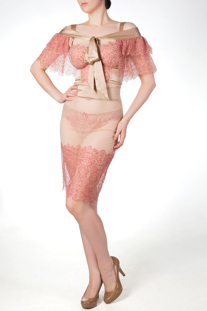 Viola Hazel luxury boudoir lingerie outfit, sheer lace skirt and bolero