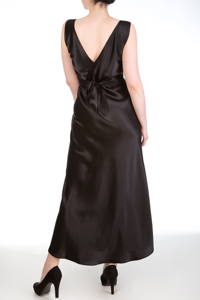 Persephone Low Cut Back Nightgown in Black Silk