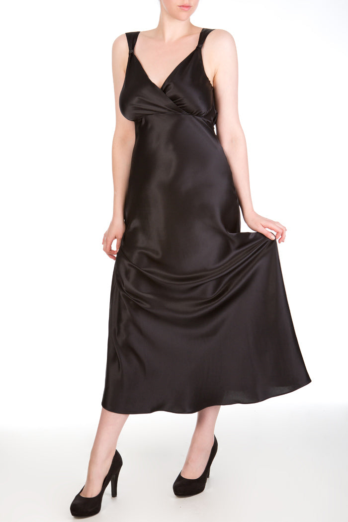 Persephone Black Silk Draped Back Gown