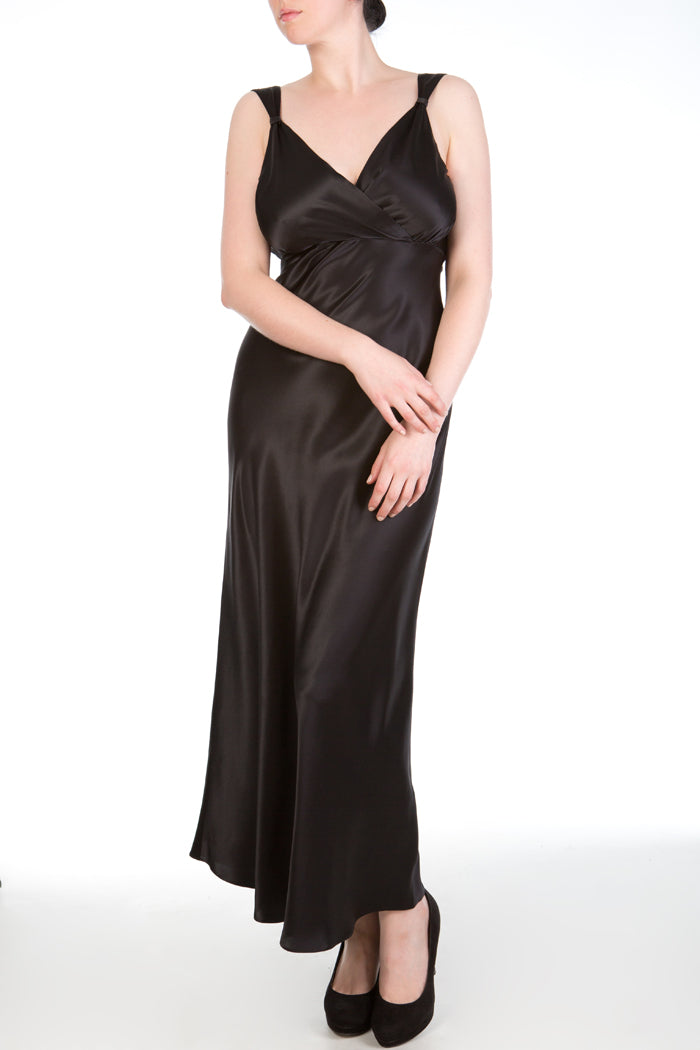 Persephone Cup Sized Black Silk Nightgown