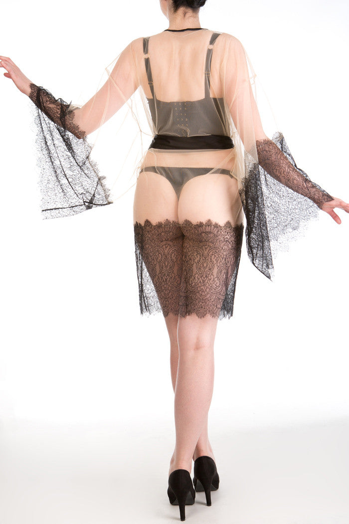 Viola Jet sheer tulle and lace kimono