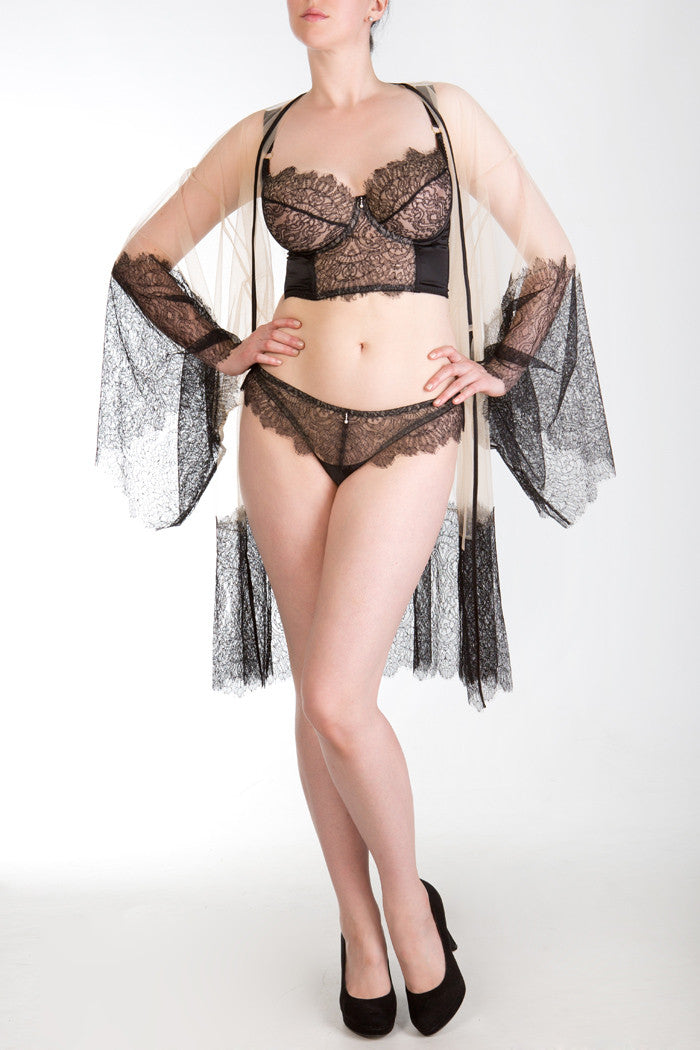 Viola Jet luxury black lace longline DD+ bra, thong and sheer robe
