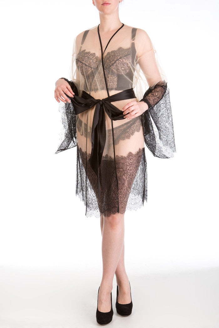 Viola Jet sheer tulle and lace kimono robe
