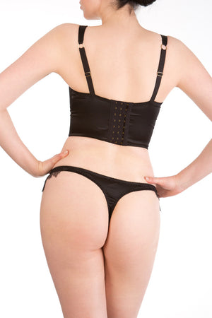 Viola Jet luxury black lace and silk longline bra and thong