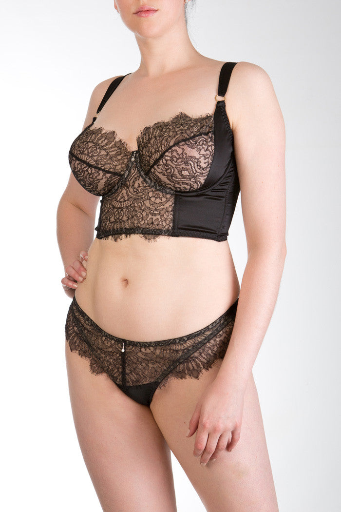 Viola Jet luxury black lace and silk longline full bust bra