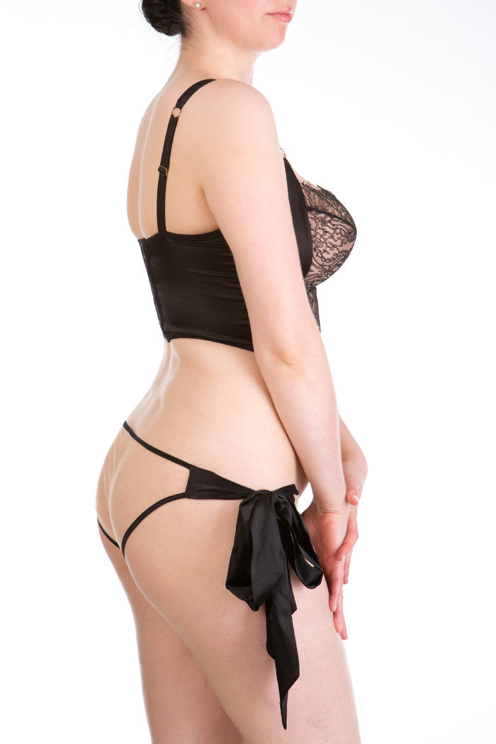 Viola Jet luxurious black silk and lace bra and sheer tie side brief