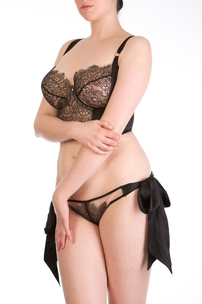 Viola Jet luxury black lace and silk lingerie set with tie side brief
