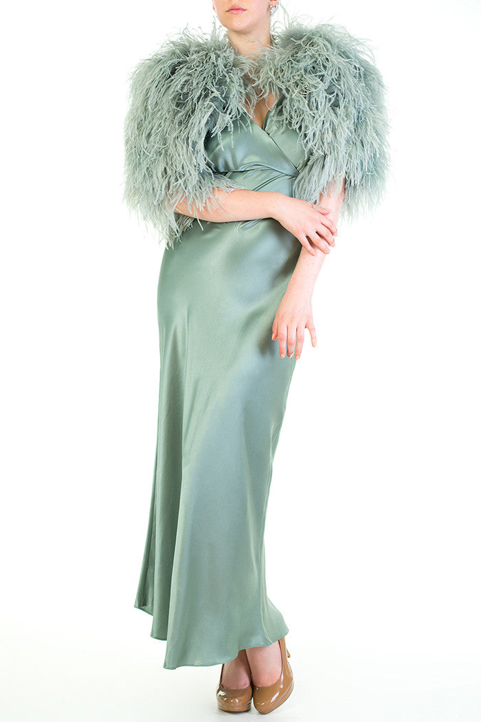 Vivienne Draped Pure Silk Gown with Matching Ostrich Feather Capelet