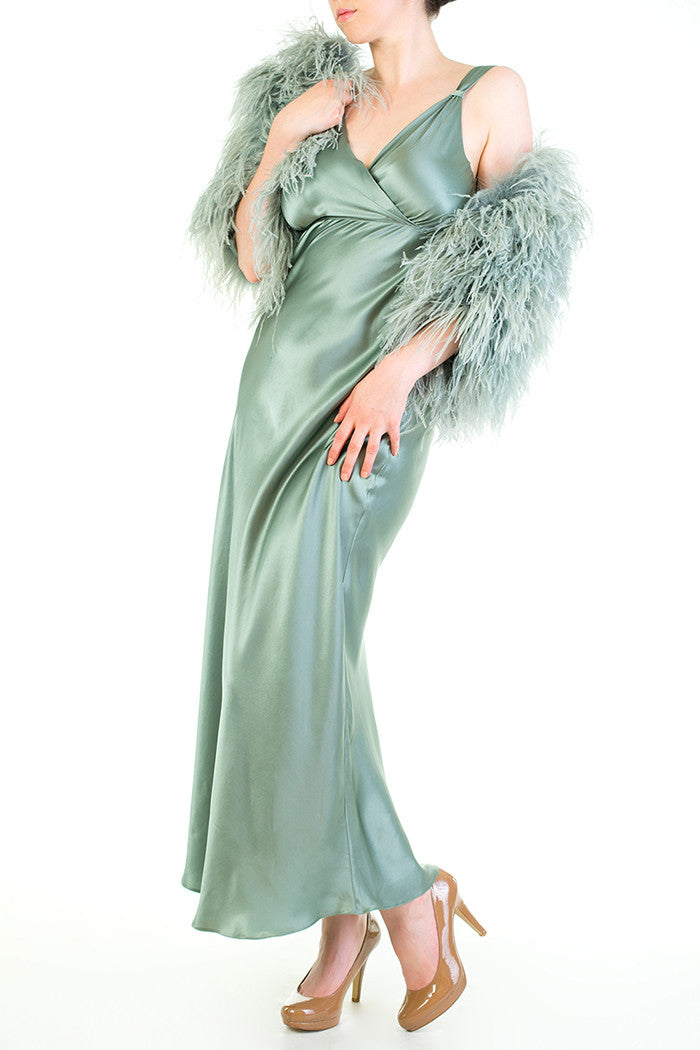 Vivienne Thirties Inspired Silk Gown with Opulent Feathered Cape in Seafoam