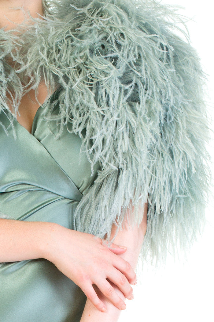 Vivienne Seafoam Ostrich Feather Capelet with Pure Silk Lining