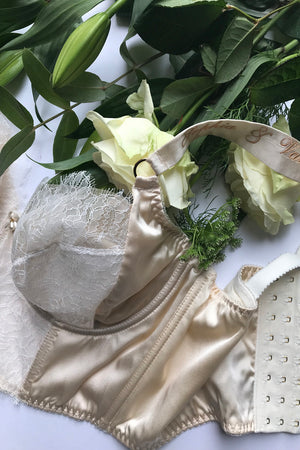 Silk embroidered bra strap personalisation for wedding undergarments