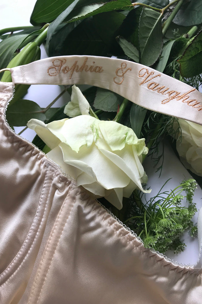 Silk bra strap personalisation for luxury wedding lingerie