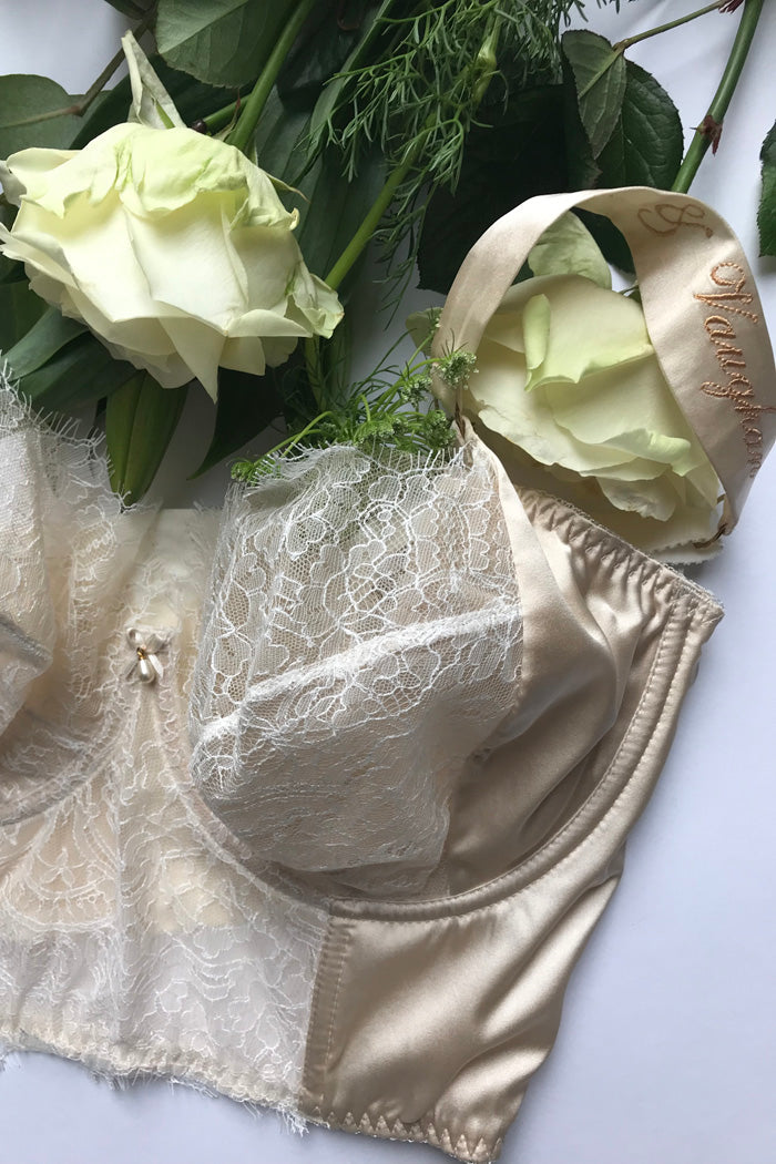 Silk bra strap personalisation for wedding lingerie
