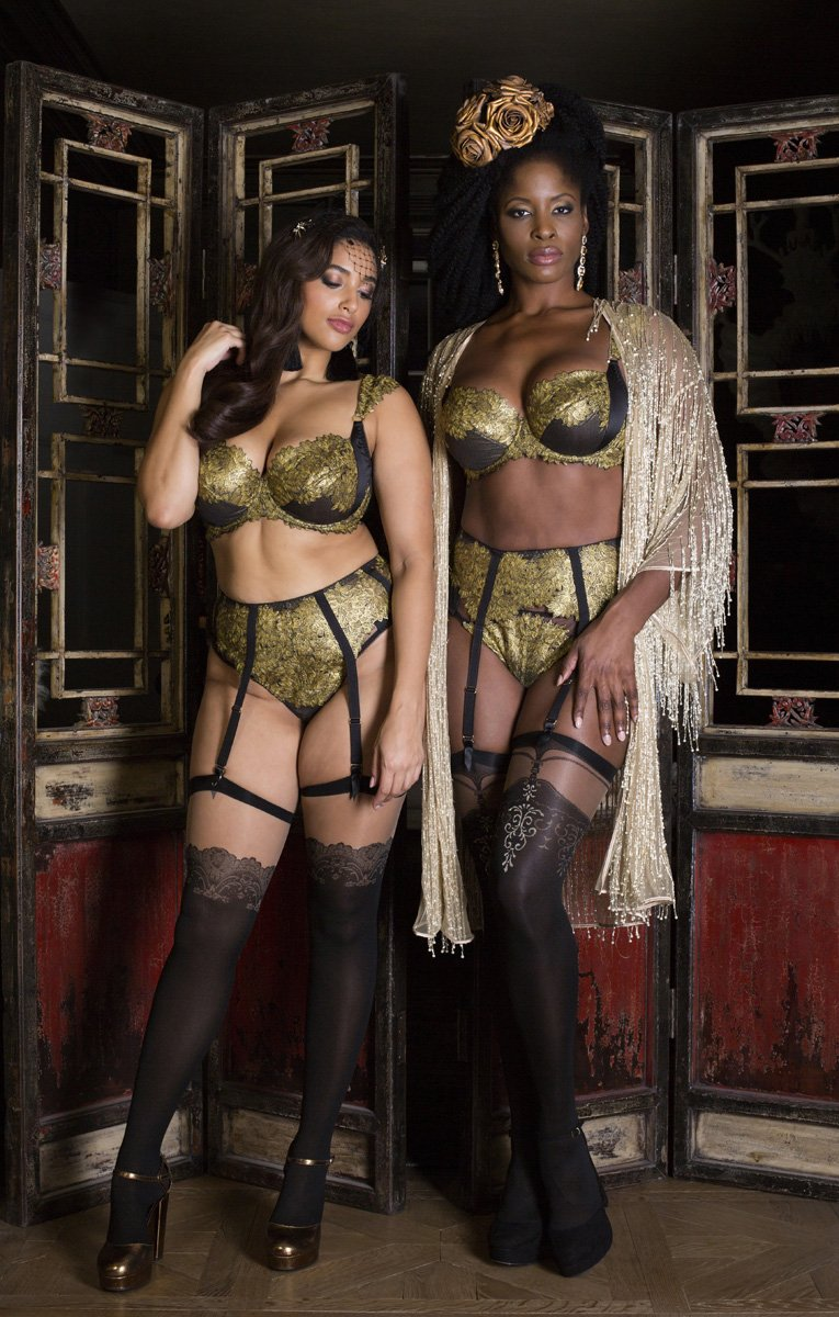 Luxury metallic gold lingerie and feather boudoir robe