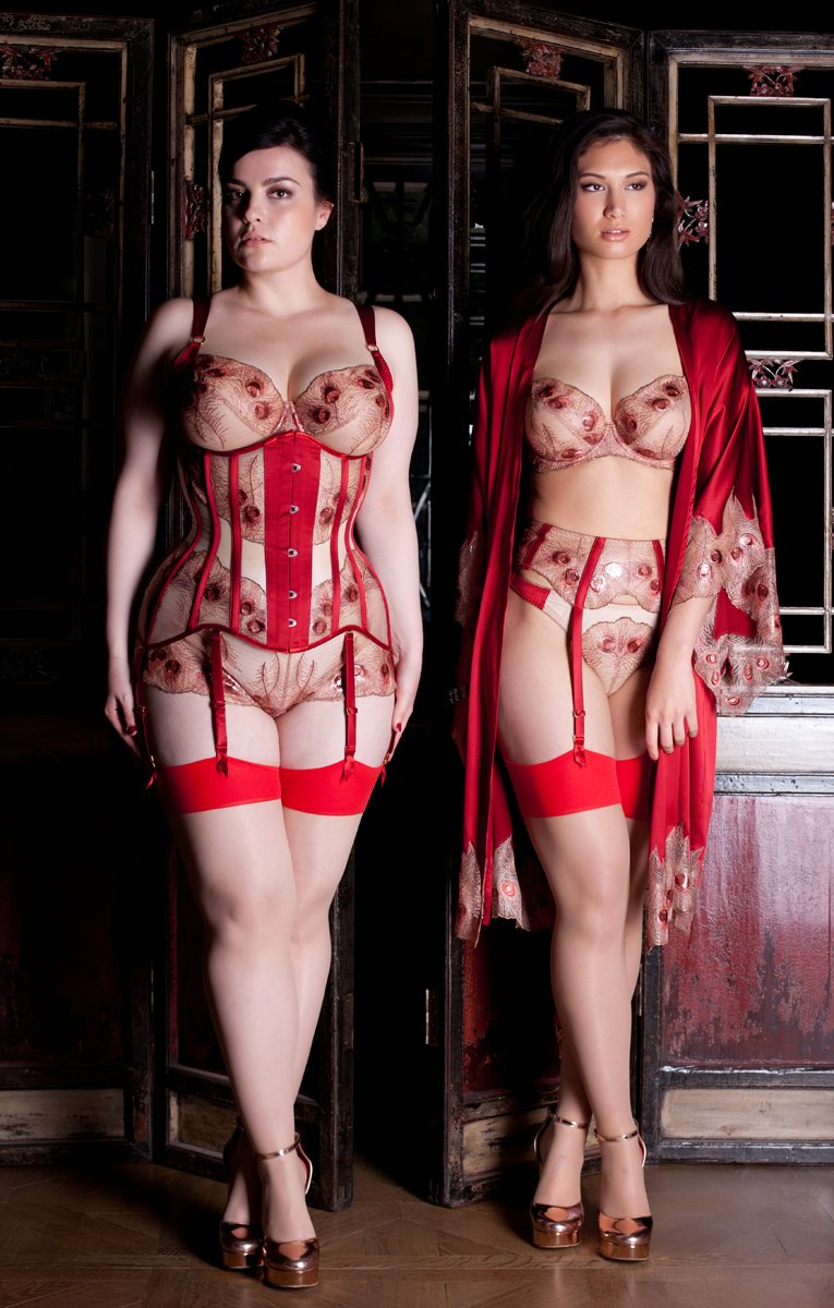Viola Hazel luxury red lace sheer full cup lingerie