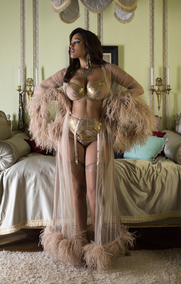 Juliette Hazel luxury gold DD+ lingerie and feather boudoir robe
