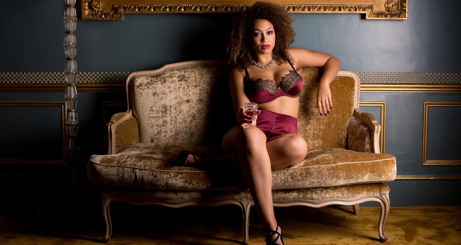Luxury vintage style burgundy lingerie for DD - G cup bra sizes, Eleanor Damson
