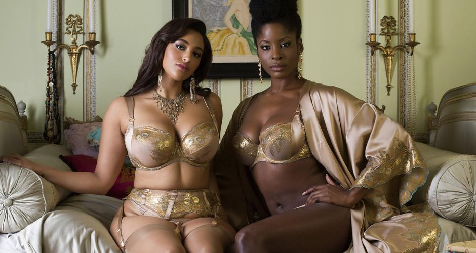 Viola Gold luxury gold DD+ silk lingerie