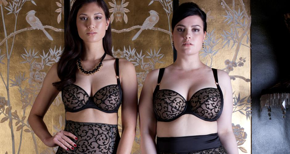 Persephone metallic black and gold lingerie for fuller cup sizes