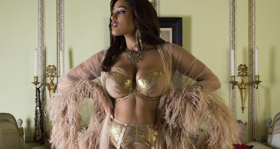 Luxury metallic gold and silk large cup lingerie